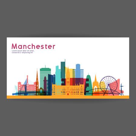 Manchester kleurrijke architectuur vector illustratie, skyline stad silhouet, wolkenkrabber, plat ontwerp.