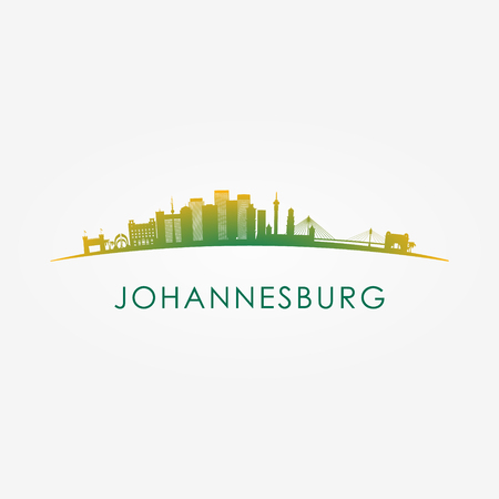 Johannesburg, South Africa skyline silhouette red vector design on white background.