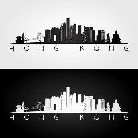 hong kong skyline: Hong Kong skyline and landmarks silhouette, black and white design, vector illustration.