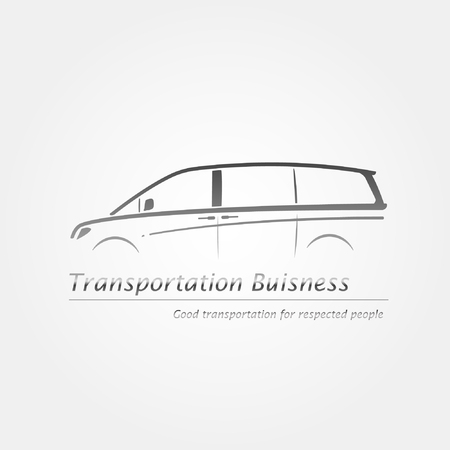 Business card with minivan. Company logo. Vector illustration.