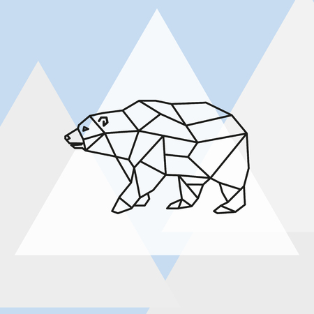 threatened: Vector illustration polar bear stylized triangle polygonal model. Illustration