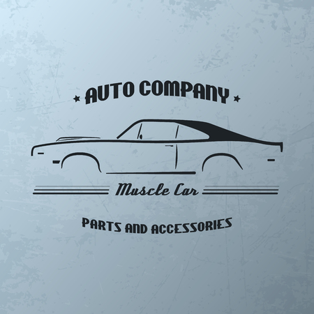 car: Vintage muscle car company logo design. Vector template.