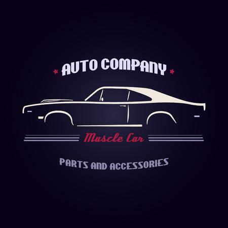 car: Design muscle car silhouette on dark blue background. Vector illustration.