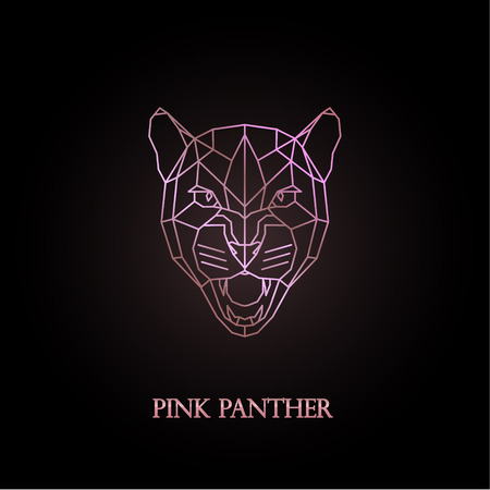Pink panther logo design. Polygonal style. Vector illustration.