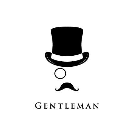 Gentleman logo. Vector illustration of cylinder hat, moustache and monocle. Illusztráció