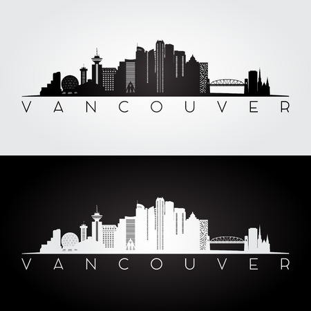 De horizon van Vancouver en oriëntatiepuntensilhouet, zwart-wit ontwerp, vectorillustratie. Stock Illustratie