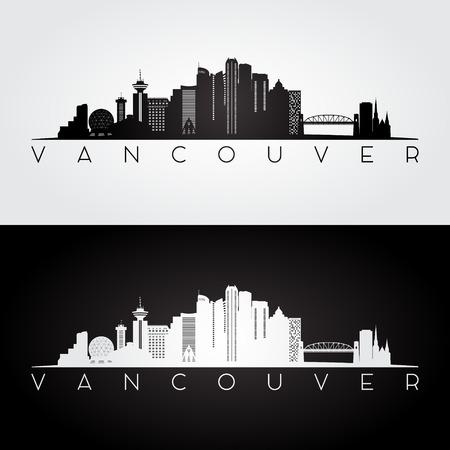 Vancouver skyline and landmarks silhouette, black and white design, vector illustration. Stock Illustratie