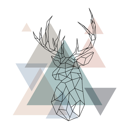 Geometric reindeer illustration. Abstract vector. Geometric deer head. Scandinavian style. 矢量图像