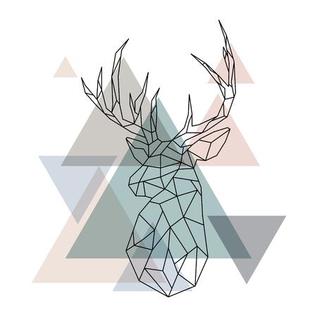 Geometric reindeer illustration. Abstract vector. Geometric deer head. Scandinavian style. Vettoriali