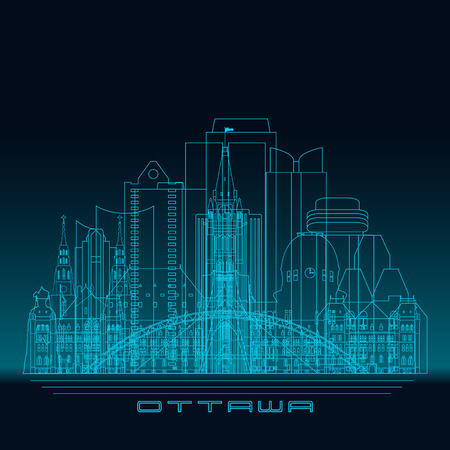 Ottawa skyline, detailed silhouette. Modern vector illustration, blue linear style.