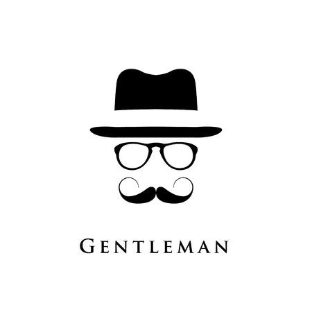 Gentleman logo. Vector illustration of vintage hat, moustache and glasses. Vettoriali