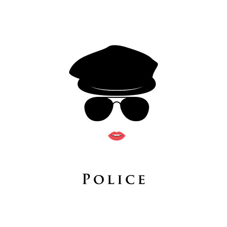Woman police officer. Girl cop in beret and sunglasses. Vector illustration.