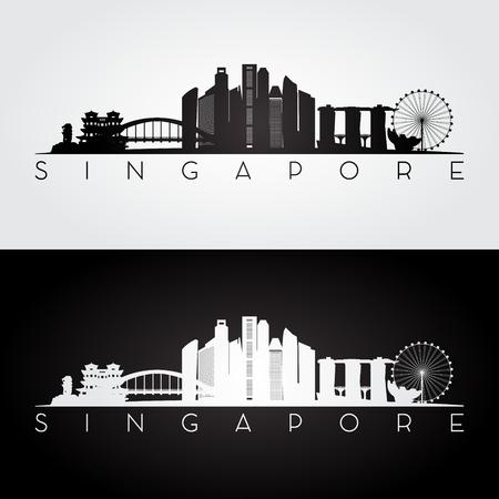 シンガポールのスカイラインやランドマークのシルエット、黒と白のデザイン、ベクトル イラストです。