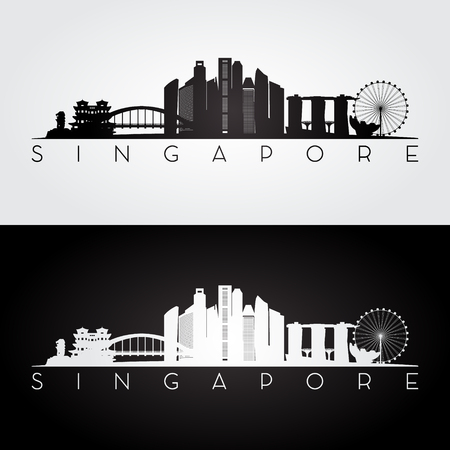 Singapore skyline and landmarks silhouette, black and white design, vector illustration.