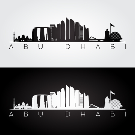 Abu Dhabi skyline and landmarks silhouette, black and white design, vector illustration.