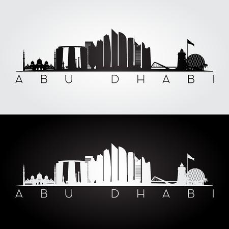 Abu Dhabi skyline and landmarks silhouette, black and white design, vector illustration.
