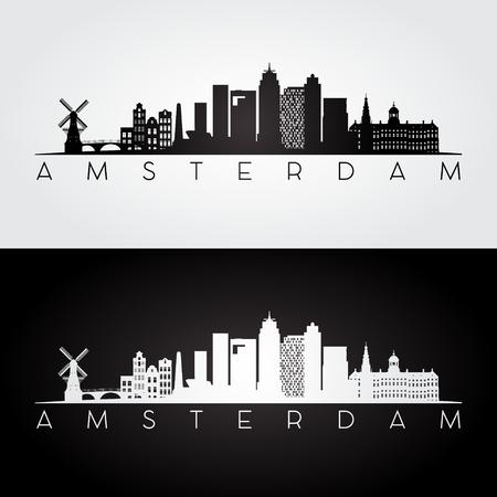 Amsterdam skyline and landmarks silhouette, black and white design, vector illustration.