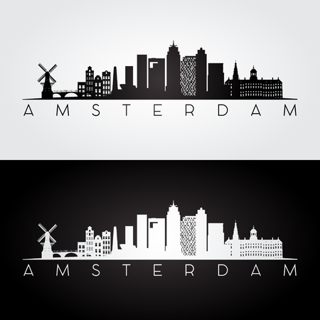 Amsterdam skyline and landmarks silhouette, black and white design, vector illustration.
