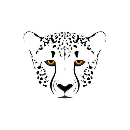 Cheetah head. Black and white vector illustration.