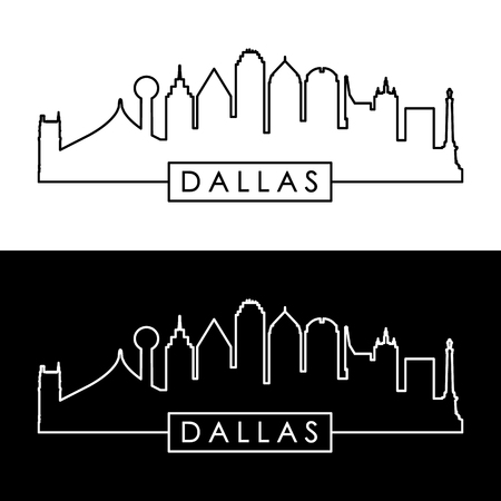 Dallas skyline. Black and white linear style. Editable vector file.