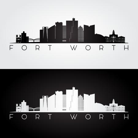 Fort Worth, USA skyline and landmarks silhouette, black and white design, vector illustration.