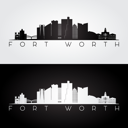 Fort Worth, silhouette de la ligne d'horizon et de points de repère des États-Unis, design noir et blanc, illustration vectorielle. Vecteurs