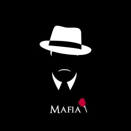 Italian Mafioso. Illustration Man with a hat, mustache and collar. Black and white vector illustration.