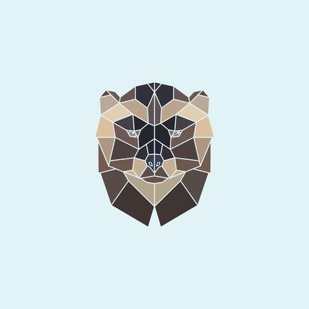 wolverine: Geometric head wolverine. Abstract multicolor polygonal design. Vector illustration. Illustration