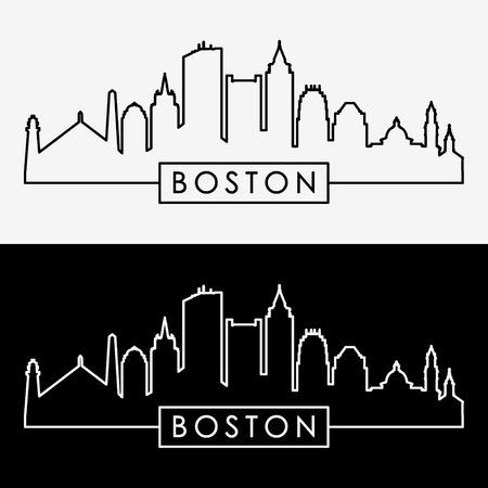 Boston skyline. Linear style. Editable vector file. Illustration