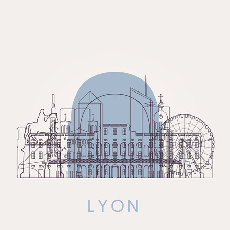 Outline Lyon vintage skyline with landmarks. Vector illustration. Business travel and tourism concept with historic buildings. Image for presentation, banner, placard and web site. Illustration