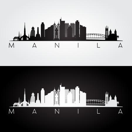 Manila skyline and landmarks silhouette, black and white design, vector illustration.