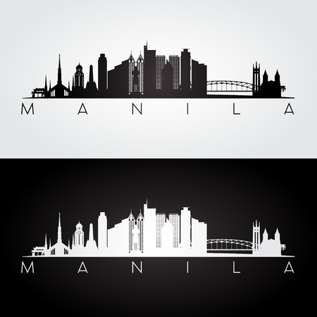 Manila skyline and landmarks silhouette, black and white design, vector illustration.