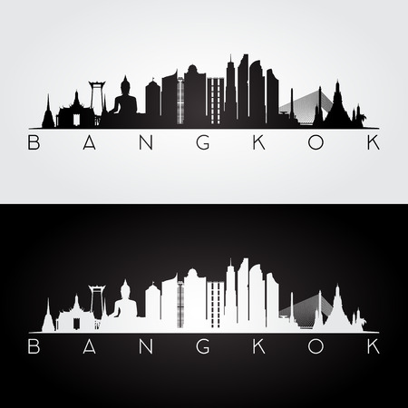 Bangkok skyline and landmarks silhouette, black and white design, vector illustration.