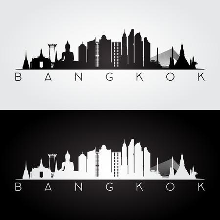 De horizon van Bangkok en oriëntatiepuntensilhouet, zwart-wit ontwerp, vectorillustratie.