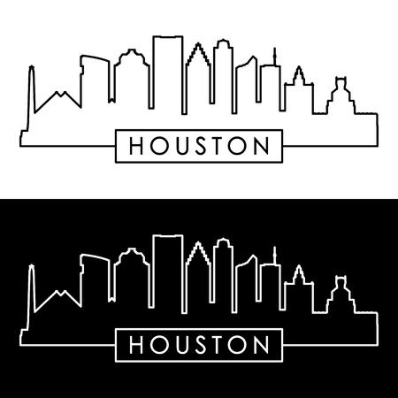 ヒューストンのスカイライン。直線的なスタイル。編集可能なベクトル ファイル。