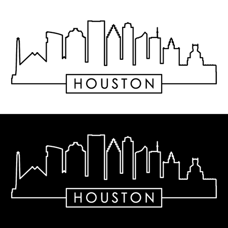 Houston skyline. Lineaire stijl. Bewerkbare vectorbestand.