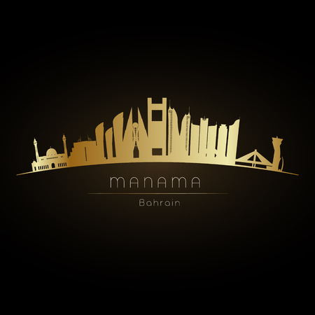 Golden logo Manama city skyline. Vector silhouette illustration. Ilustracja