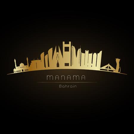Golden logo Manama city skyline. Vector silhouette illustration. Illustration