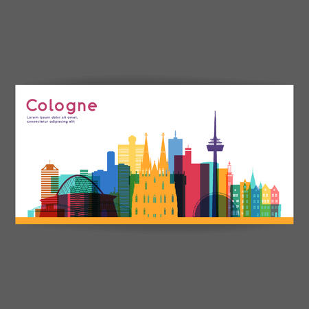 Cologne colorful architecture vector illustration, skyline city silhouette, skyscraper, flat design.