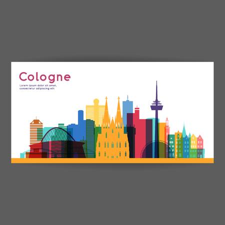 Cologne colorful architecture vector illustration, skyline city silhouette, skyscraper, flat design.