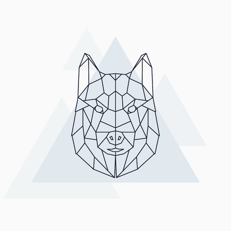 Husky dog husky. Abstract geometric animal. Vector illustration.