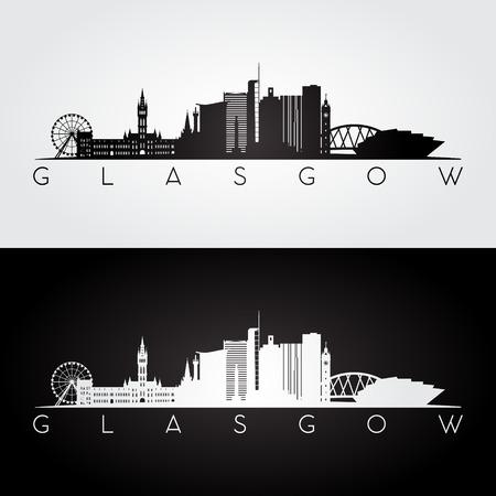 グラスゴーのスカイラインとランドマークのシルエット、黒と白のデザイン、ベクトル イラストです。