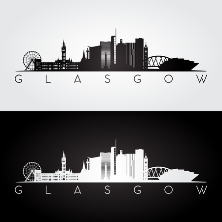Glasgow skyline and landmarks silhouette, black and white design, vector illustration.