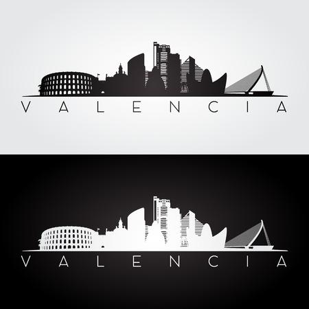 Valencia skyline and landmarks silhouette, black and white design, vector illustration.