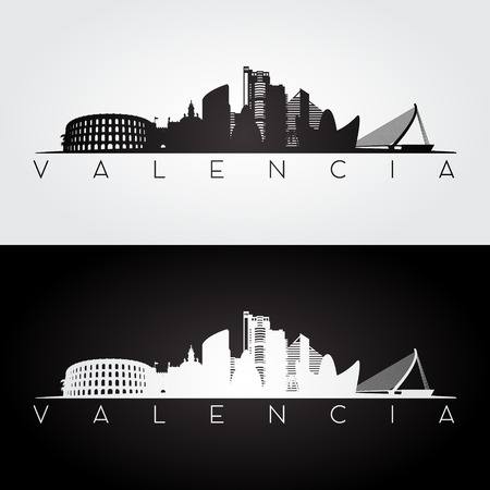 Valencia skyline en bezienswaardigheden silhouet, zwart en wit ontwerp, vectorillustratie.