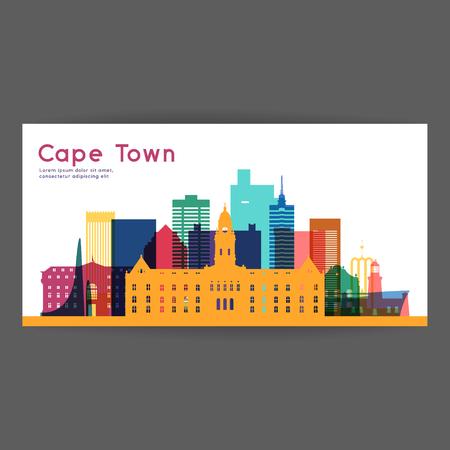 ケープタウン カラフルな建築ベクトル図、スカイライン都市シルエット、超高層ビル、フラットなデザイン。