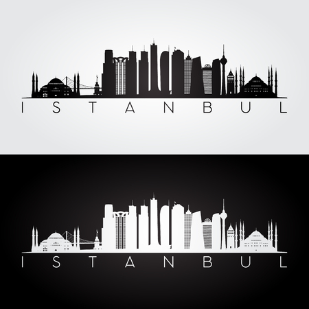 Istanbul skyline and landmarks silhouette, black and white design, vector illustration.