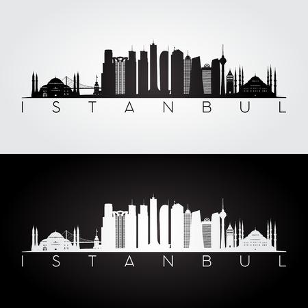 Istanbul skyline and landmarks silhouette, black and white design, vector illustration.