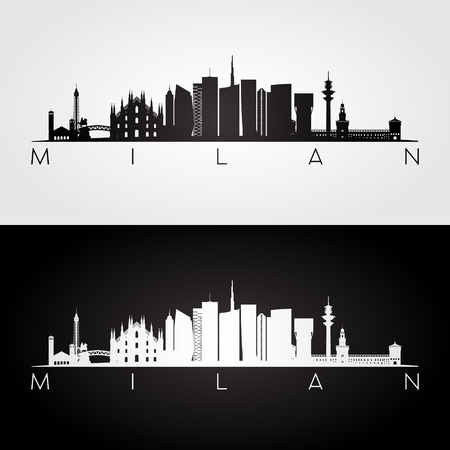 Milan skyline and landmarks silhouette, black and white design, vector illustration.