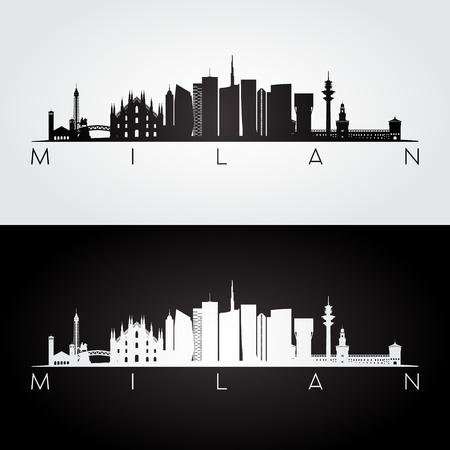 Milan skyline and landmarks silhouette, black and white design, vector illustration.